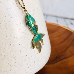Jewelry - 3for$23 Koi fish pendant necklace gold & green 🆕